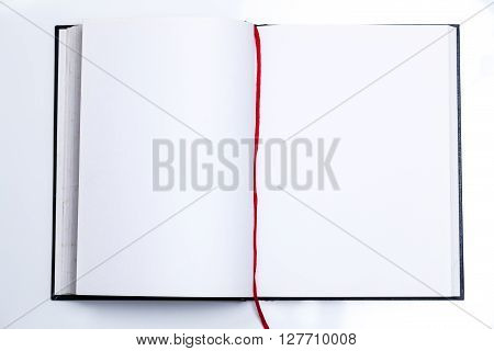 Blank Open Book With Red Ribbon
