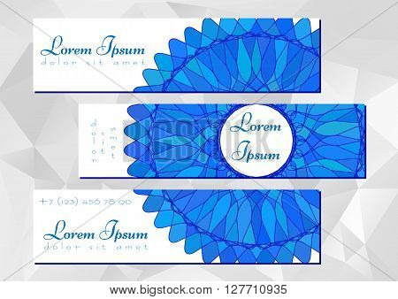 Three banners with blue mandala ornament. Promotional labels for cosmetics store or shop beauty salons yoga studios massage cabinet. Vector illustration
