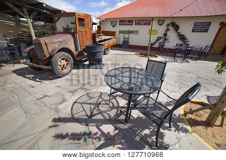 FISH RIVER CANYON NAMIBIA - SEPTEMBER 01 2015: Vintage truck in front of the Lodge Canyon Roadhouse Fish River Canyon Namibia