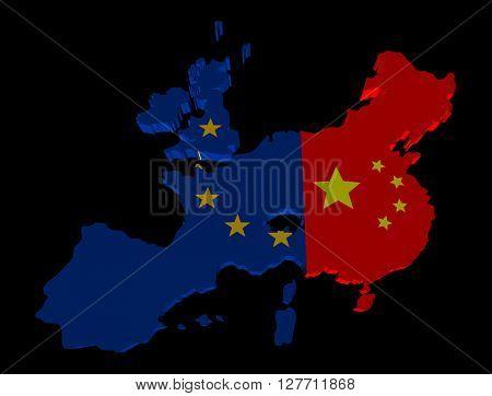 EU China merged map flag 3d illustration