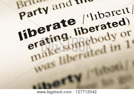 Close Up Of Old English Dictionary Page With Word Liberate.