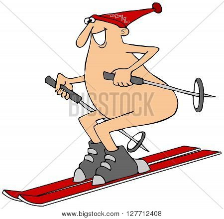 Illustration of a man wearing only a red stocking cap skiing down a hill.