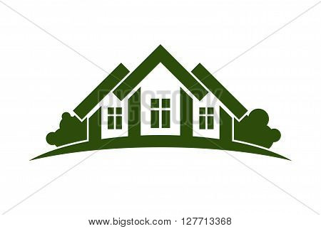Abstract vector illustration of country houses with horizon line. Green house.