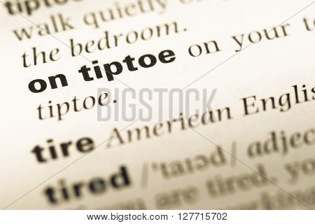 Close Up Of Old English Dictionary Page With Word On Tiptoe.