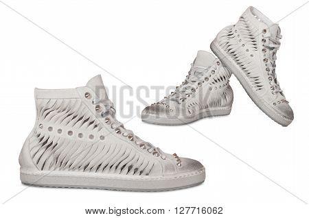 stylish female suede boots isolated on white