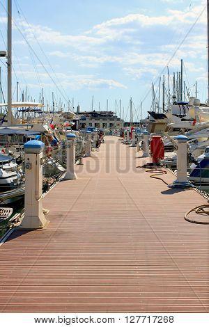 a dock for boats and yachts in Southern France
