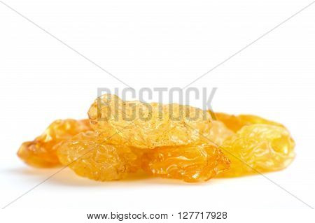 Yellow Sultanas Raisins Isolated On White Background