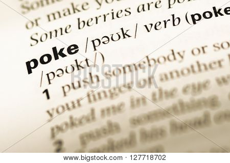 Close Up Of Old English Dictionary Page With Word Poke.
