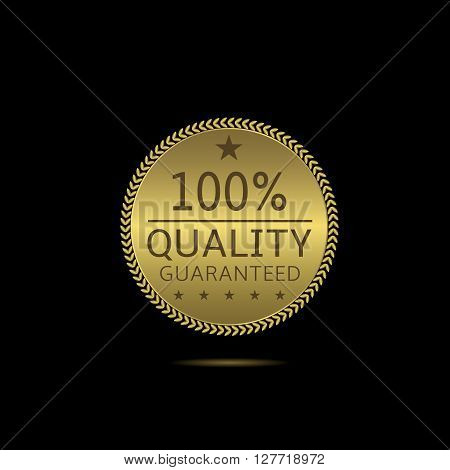 Quality guaranteed. Golden label with laurel wreath and stars. Best quality sign