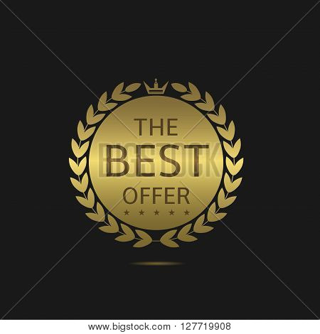 Golden the best offer label. Quality premium genuine guarantee, authentic warranty symbol