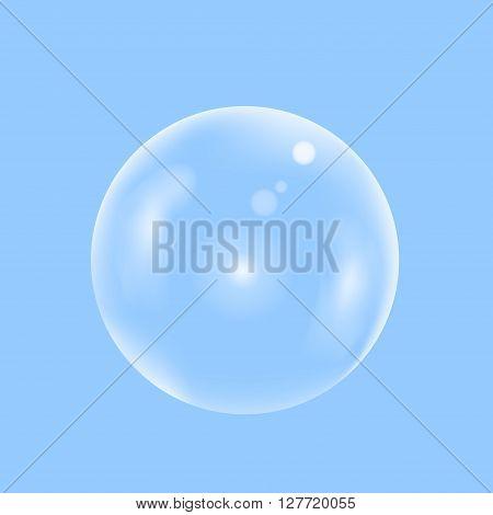 Water transparent  bubble on the sky. Soap bubble, Vector illustration