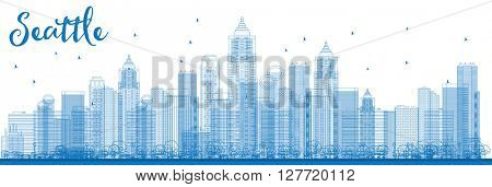 Outline Seattle City Skyline with Blue Buildings. Vector Illustration. Business travel and tourism concept with modern buildings. Image for presentation, banner, placard and web site.
