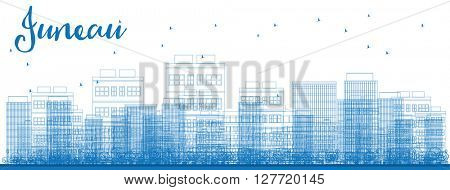 Outline Juneau (Alaska) Skyline with Blue Buildings. Vector Illustration. Business travel and tourism concept with modern buildings. Image for presentation, banner, placard and web site.