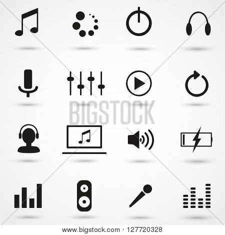 Music icons set, music, dj, speaker, audio, vector, record.