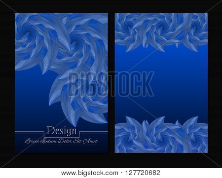 Set of vector design templates.Corporate Identity kit or business kit with artistic abstract colorful design for your business. Vector abstract booklet cover. Beauty brochure. Blue and white