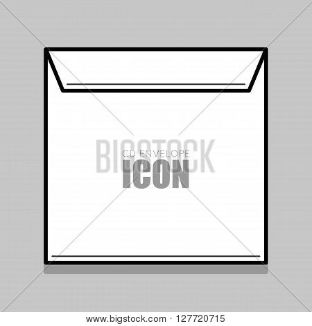 White  cover for compact disc. White envelope vector illustration. Thin line envelope.