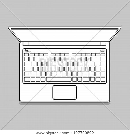 Open Modern Laptop, Top View Vector Illustration. Thin line Computer Notebook illustration