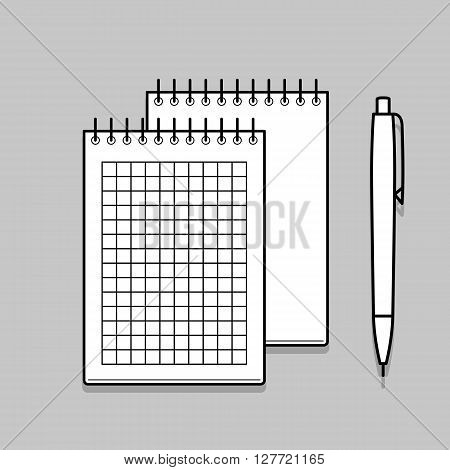 Two spiral notebook and white ballpoint Pen. Thin line vector illustration