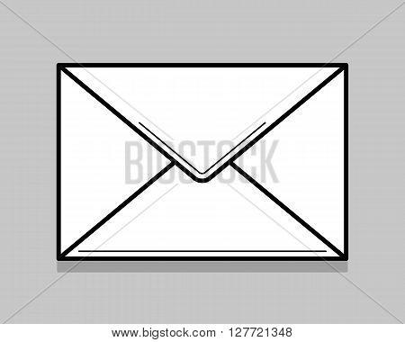 White envelope for identy design. Blank envelope isolated on light gray background. Thin line vector illustration.