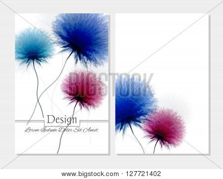 Set of vector design templates.Corporate Identity kit or business kit with artistic abstract colorful design for your business. Vector abstract booklet cover. Beauty brochure. Blue pink and white