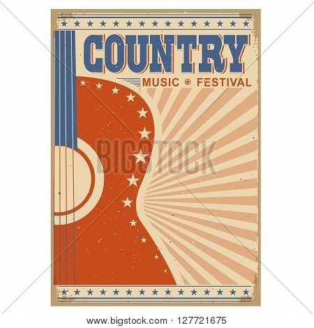 Music Festival Background With Guitar.vector Poster Isolated On White
