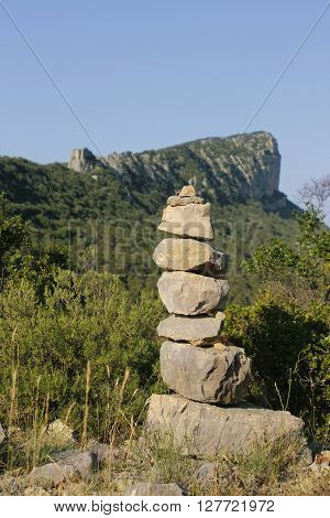 a Stone cairn on a mountain in France