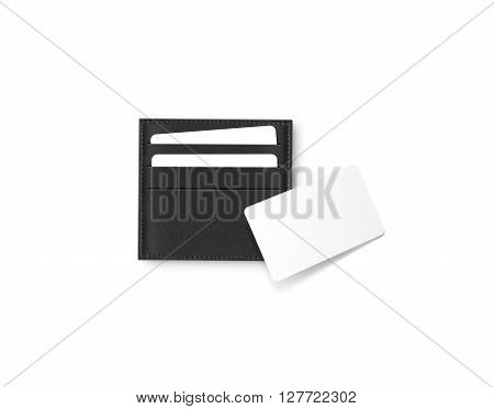 Black leather card holder with blank white card mock up isolated. Business credit cards mockup in sleeve cardholder pocket. Clear paper visiting id cards in grey wallet box. Logo design presentation.