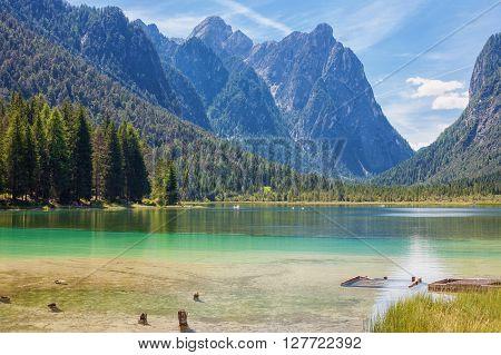 Lake Dobbiaco (Toblach) in the Dolomites Italy