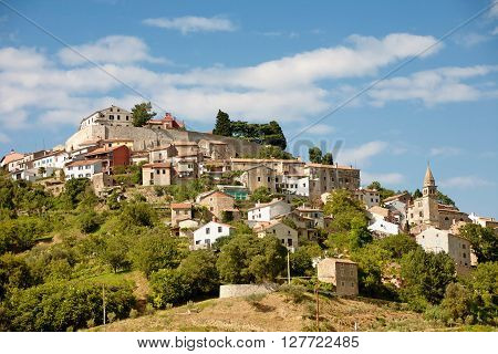 The View of Motovun in Croatia with blue sky
