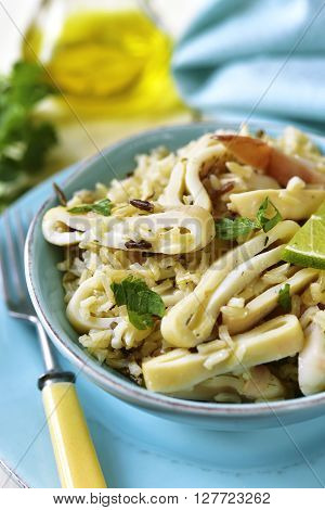 Calamari Salad With Wild And Brown Rice.
