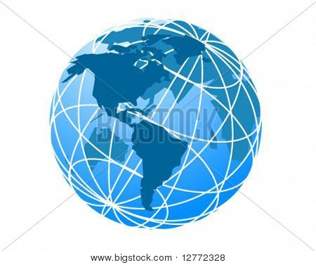 Wired Globe - Vector