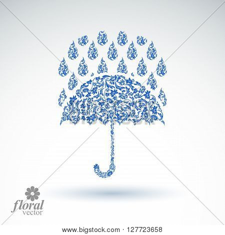 Beautiful Flower-patterned Umbrella Under Rain Drops. Stylized Accessory, Parasol, Rainy Weather Gra