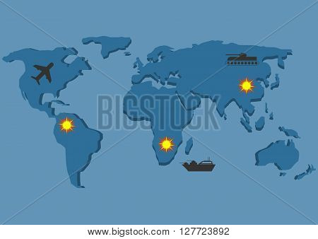 World map. War. Bomber tank warship icons