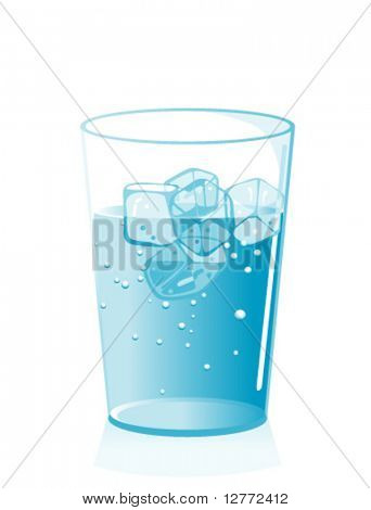 Iced Water in a Glass - Vector