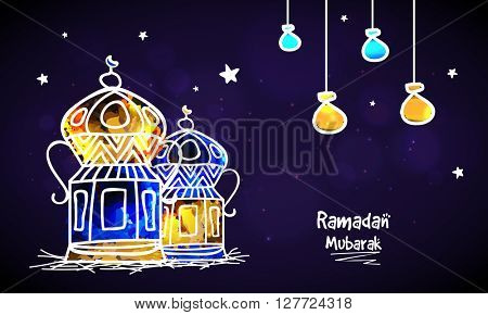 Creative colourful Lanterns for Holy Month of Muslim Community, Ramadan Mubarak.