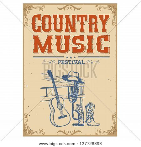 Music Concert Vintage Poster On Old Paper Background With Guitar And American Cowboy Shoes