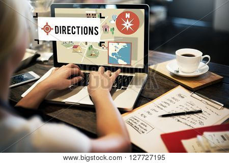 Direction Journey Location Magnetic Navigation Concept