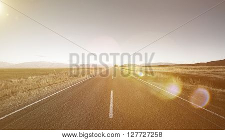 Asphalt Country Road Escape Straight Sunset Trip Concept
