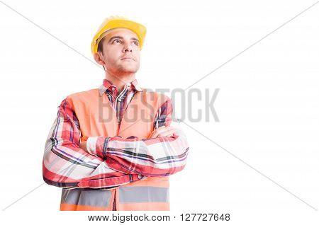 Confident Builder Looking Up