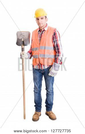 Builder With Helmet, Vest, Gloves And Shovel