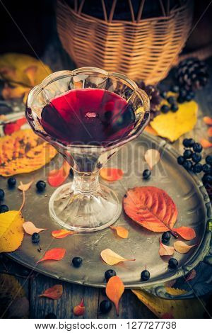 Fall Kitchen Cup Tincture Chokeberry Wooden Table