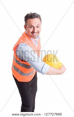 Engineer throwing his yellow helmet and acting happy