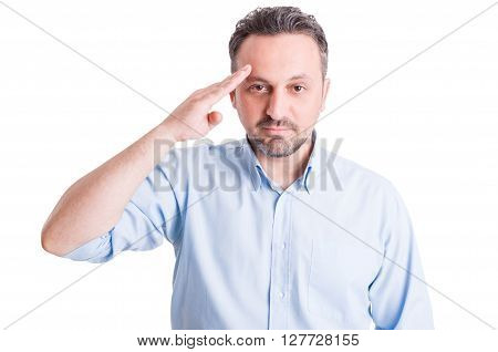 Executive Boss Making Military Salute