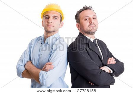 Proud and confident engineer or architect and business man back to back