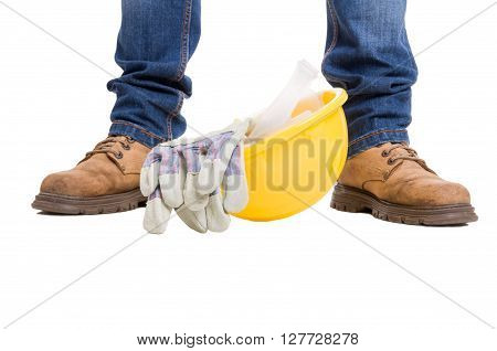 Construction Worker Concept On White Background