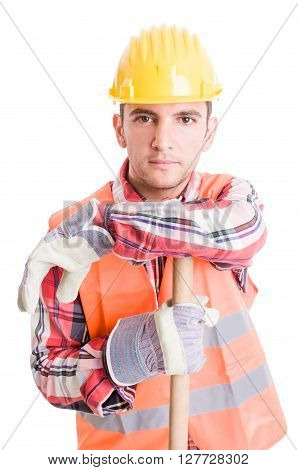 Professional Construction Worker Resting
