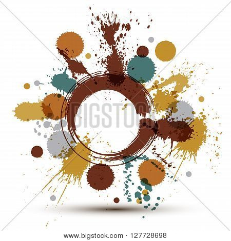 Colorful Vector Ink Splash Seamless Pattern With Overlap Circles, Bright Graphic Art Repeat Backgrou