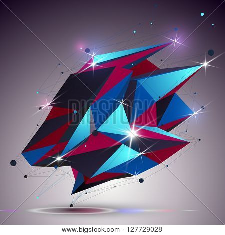 Creative Asymmetric Polished Object With Lines Mesh. 3D Colorful Shiny Complicated Engineering Abstr