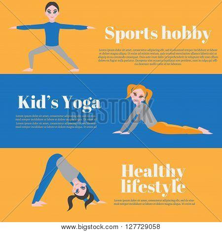 Yoga kids poster. Gymnastics for children and healthy lifestyle. Yoga exercises. Yoga class, yoga center, yoga studio. Flat yoga asana. Sport hobby