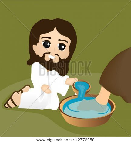 Jesus washing Feet - Vector